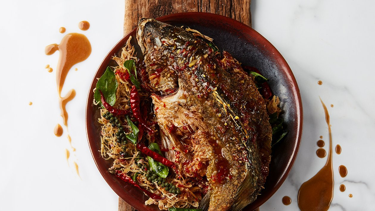 Crispy grouper fish with spicy tamarind sauce
