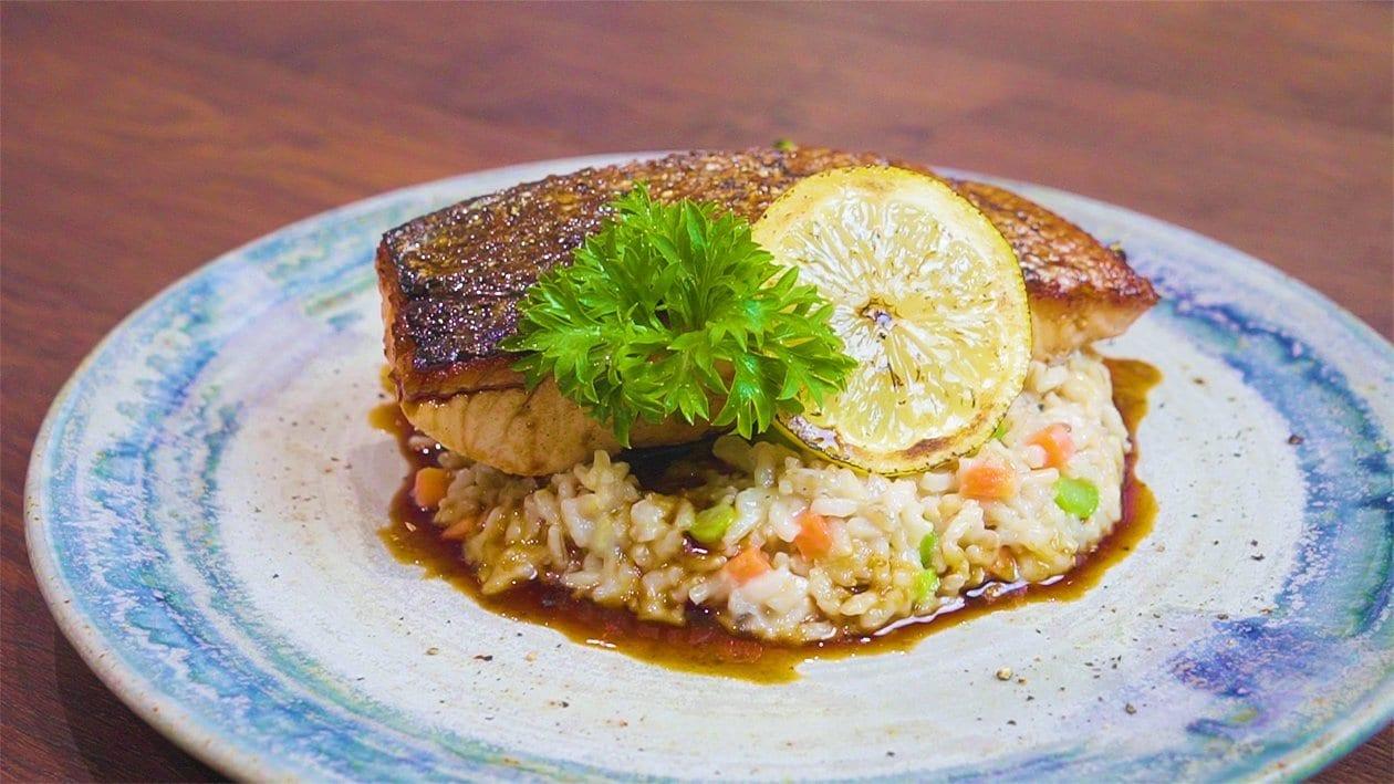 Yuzu Glazed Salmon with Brown Rice Risotto