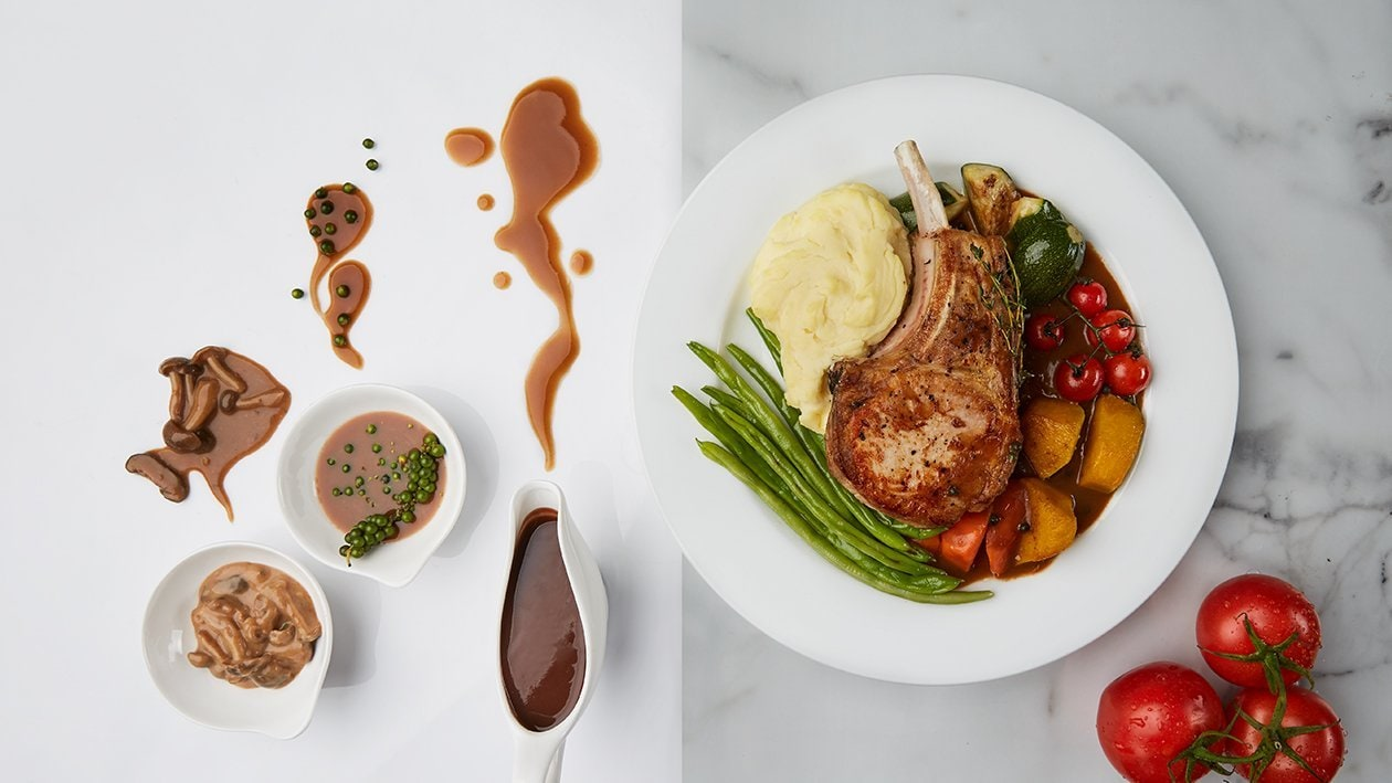Grilled pork chop with red wine sauce