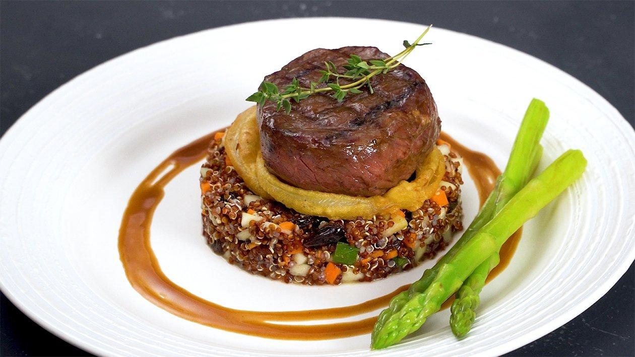 Soy Garlic Beef Tenderloin Steak with Quinoa Salad