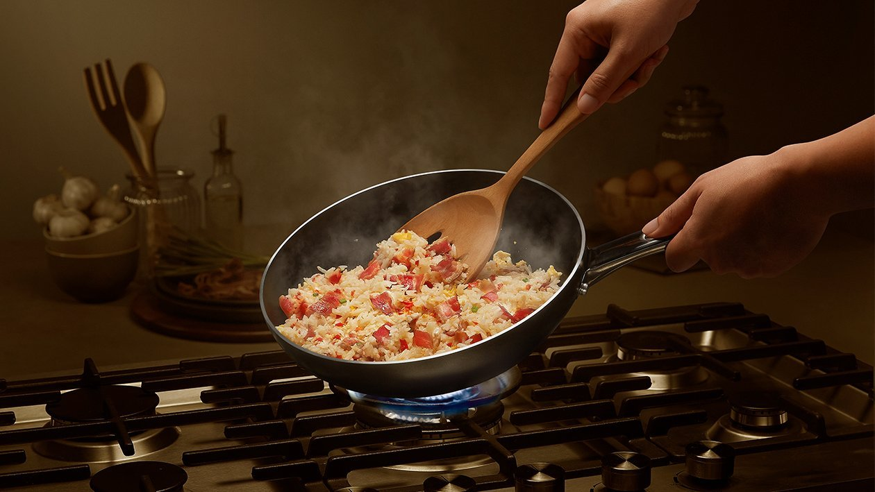 Aromatic Fried Rice with Bacon, Chilli and Garlic